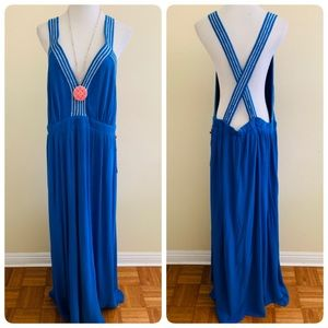 Gibson Hi Sugarplum Santorini Dress Blue Open Back